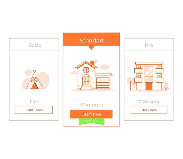 Ons prijsplan. drie verschillende categorieën prijzen voor geld. keuze premium.