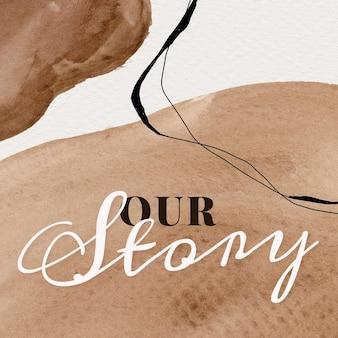 Ons verhaal aquarel memphis patroon sociale sjabloon