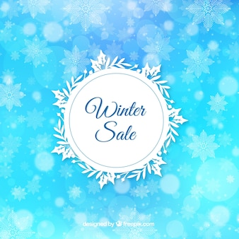 Onscherpe blauwe winter verkoop achtergrond