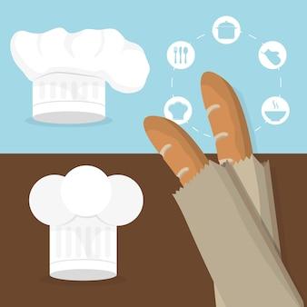 Ontbijt baguettes hoed chef-kok smakelijke folder