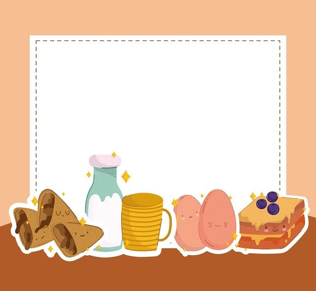 Ontbijt cartoon achtergrond