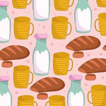 Ontbijt cartoon naadloos patroon