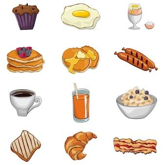 Ontbijt cartoon set: gebakken en gekookte eieren, koffie, toast, spek, pannenkoeken, havermout, ontbijtgranen, sinaasappelsap, melk, worstjes, muffin, croissant.