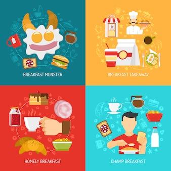 Ontbijt concept vector afbeelding