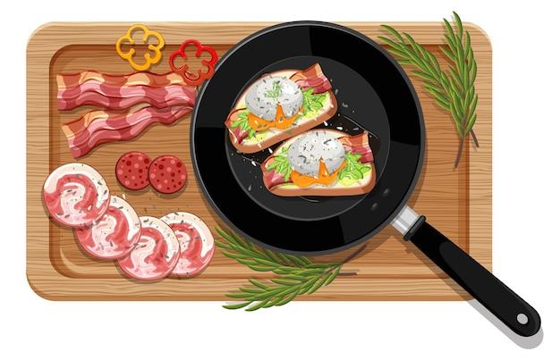 Ontbijt dat in de geïsoleerde pan wordt geplaatst