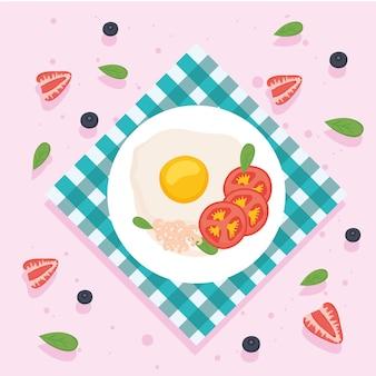 Ontbijt ei met tomaten op plaat