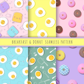 Ontbijt en donuts patroon naadloze collectie in pastel.