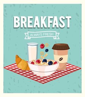 Ontbijt en ontbijtgranen met aardbeien en bramenfruit