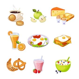 Ontbijt eten assortiment geïsoleerde pictogrammen