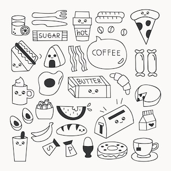 Ontbijt eten doodle set vectorillustratie