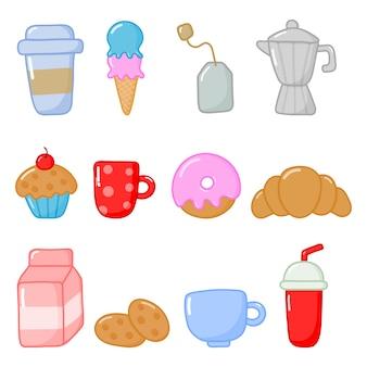 Ontbijt eten en drinken pictogrammen instellen cartoon stijl geïsoleerd