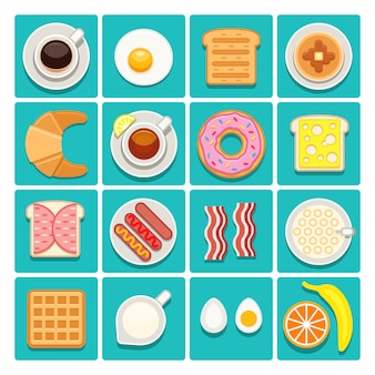 Ontbijt eten en drinken plat pictogrammen