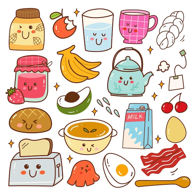 Ontbijt eten kawaii doodle set vector illustratie