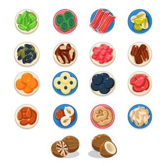 Ontbijt eten monsterplaten collectie