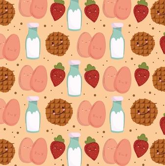 Ontbijt eten naadloze patroon