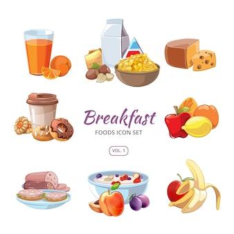 Ontbijt eten pictogrammen in cartoon stijl. lunchkoffie, sinaasappel en ochtendvoeding, heerlijk vers fruit, vectorillustratie