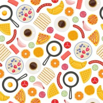 Ontbijt eten symbolen naadloze achtergrond. patroon.