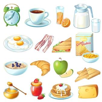 Ontbijt icon set met geïsoleerde en gekleurde voedsel en keukengerei om te eten