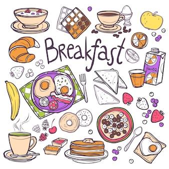 Ontbijt icons set