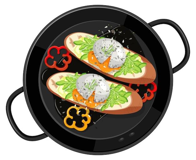 Ontbijt in de geïsoleerde pan