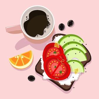 Ontbijt in verschillende kleurenillustratie
