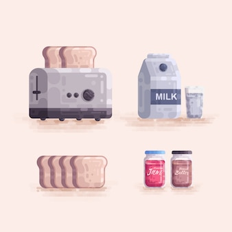 Ontbijt instellen broodrooster brood melk jam vectorillustratie