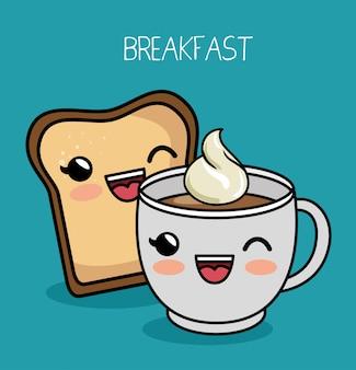Ontbijt kawaii schattig kopje koffie brood