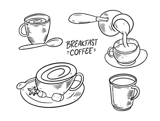 Ontbijt koffie illustratie