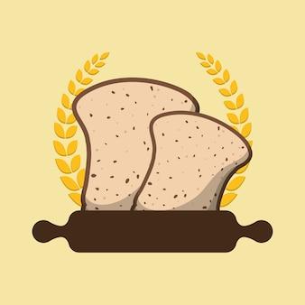 Ontbijt kookrol gehalveerde brood laurier badge