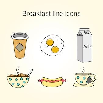 Ontbijt lijn iconen