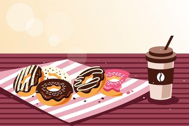 Ontbijt met donuts en koffie