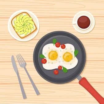 Ontbijt met gebakken eieren op koekenpan, koffie, avocadotoost, vectorillustratie