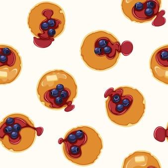 Ontbijt met pannenkoeken en bosbessen naadloze patroon