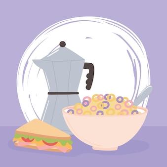 Ontbijt moka pot granen en sandwich heerlijk eten cartoon afbeelding