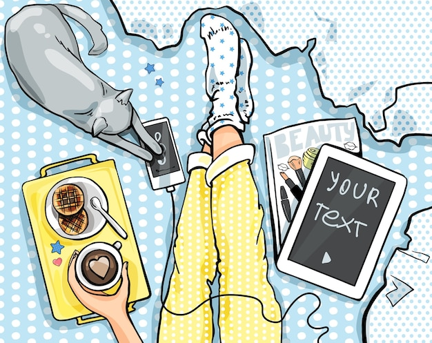 Ontbijt op bed. uitzicht van bovenaf, voeten. koffie, wafels, kat, tablet, tijdschrift.