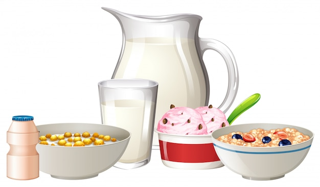 Ontbijt op witte achtergrond wordt geplaatst die