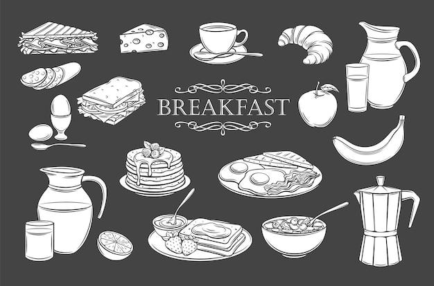 Ontbijt pictogrammen glyph geïsoleerde pictogrammen instellen.
