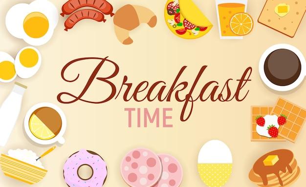 Ontbijt pictogrammenset achtergrond in moderne vlakke stijl