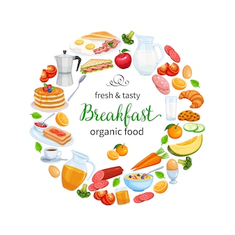 Ontbijt poster food design vector. kruik melk, koffiepot, kop, fruit en groenten. bakken, sinaasappelsap, sandwich en gebakken eieren. pannenkoeken en toast met jam.