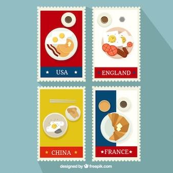 Ontbijt postzegels pakken uit verschillende landen