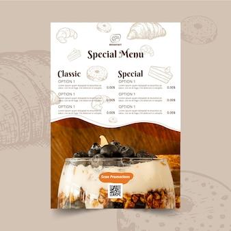 Ontbijt restaurant menu