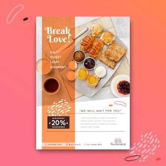 Ontbijt restaurant poster sjabloon