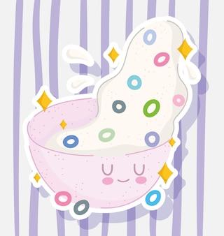 Ontbijt schattig kom met melk en granen eten vers op gestreepte achtergrond