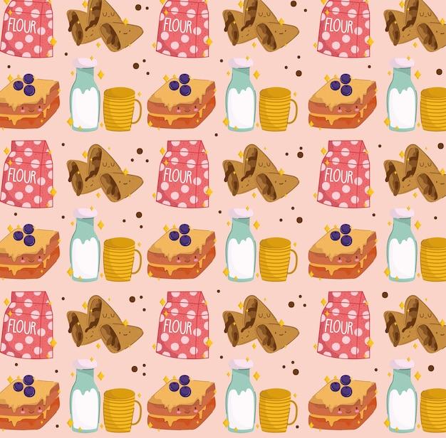 Ontbijt schattig naadloos patroon