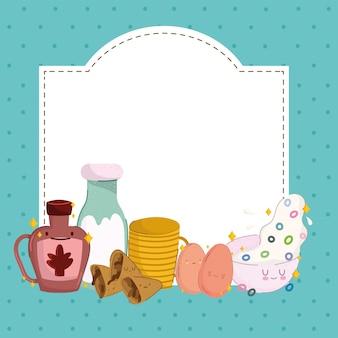 Ontbijt schattig plakkaat
