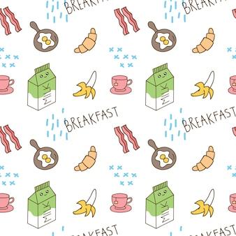Ontbijt thema naadloze achtergrond