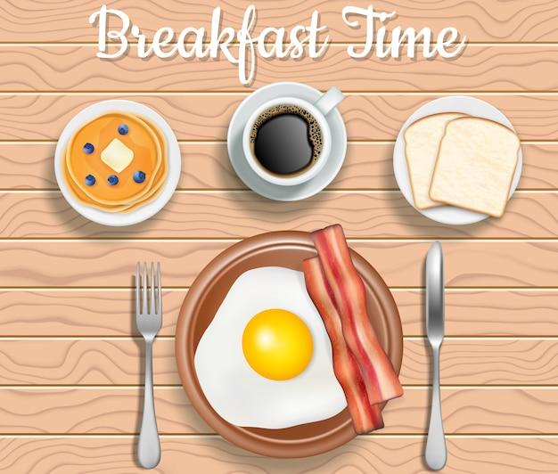 Ontbijt tijd bovenaanzicht illustratie