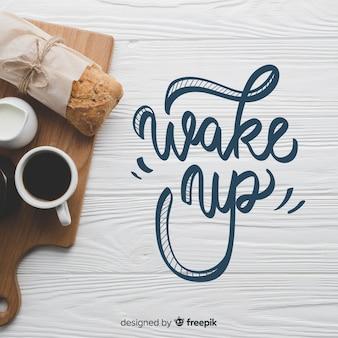 Ontbijt van letters voorziende achtergrond met foto