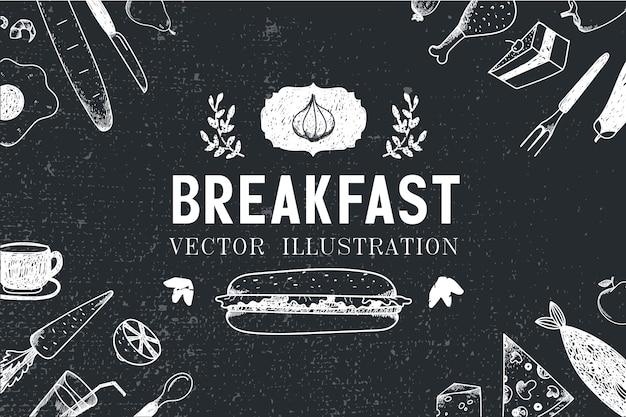 Ontbijt, voedsel hand getrokken illustratie, banner, menudekking, poster. zwart en wit