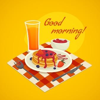 Ontbijtaanmaakconcept met het wensen van de goedemorgen
